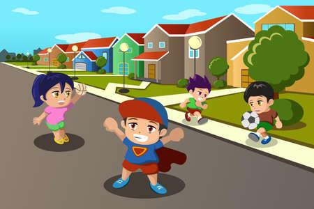 pelota caricatura: Una ilustraci�n vectorial de ni�os felices jugando en la calle de un barrio suburbano