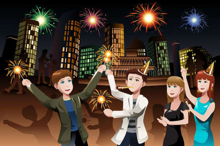 A vector illustration of group of young people celebrating New Year