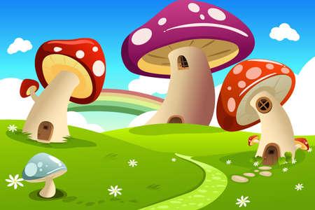 Een vector illustratie van paddestoel fantasie huis
