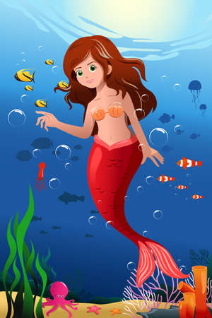 A vector illustration of little mermaid in the ocean Stock Vector - 22779763