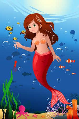 Une illustration de petite sirène dans l'océan Banque d'images - 22779763