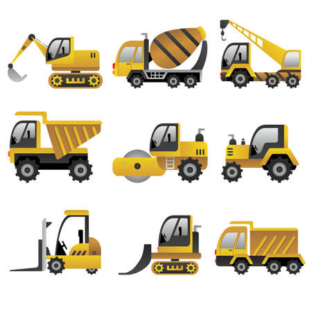 construction equipment: A vector illustration of big construction vehicles icon sets