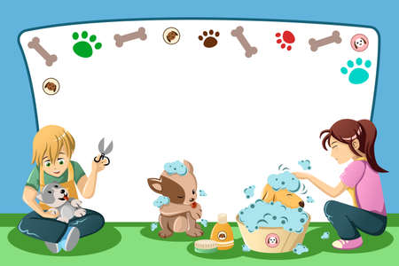 groomer: A vector illustration of pets grooming advertisement with copyspace