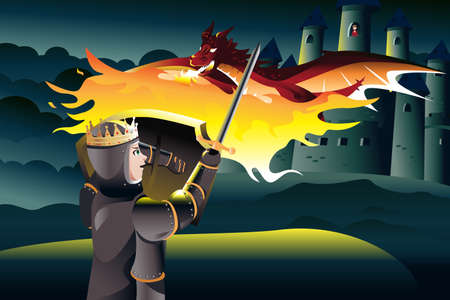 A vector illustration of a classic children tale of a prince trying to rescue a princess trapped in a tower of a castle guarded by a dragon 일러스트