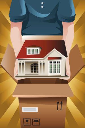 Een vector illustratie van reclame voor verhuisbedrijf