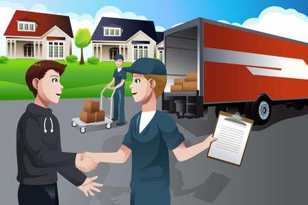 trasloco: Una illustrazione vettoriale di pubblicit� per la societ� in movimento Vettoriali