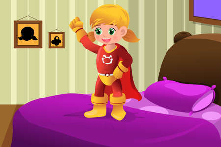 A vector illustration of girl in superhero costume Vector