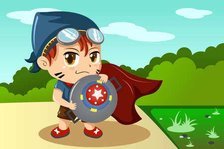 A vector illustration of boy in superhero costume Vector