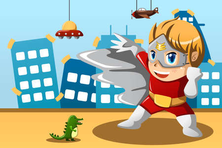 A vector illustration of boy in superhero costume Vector