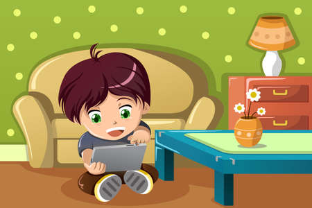 using tablet: A vector illustration of cute boy using a tablet PC in the living room