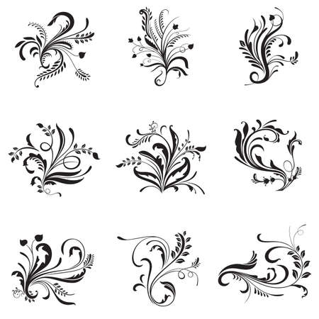A vector illustration of flower ornaments for design elements in black and white Stock Vector - 23072331