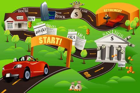 Una illustrazione vettoriale di roadmap finanziaria per il concetto finanziaria