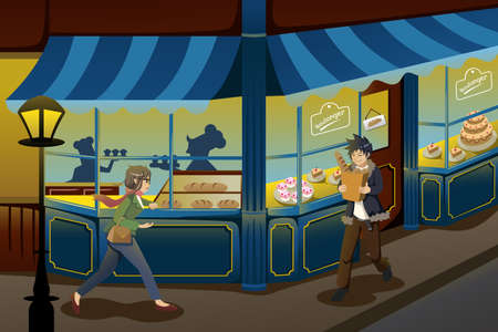 A vector illustration of French bakery store Vector