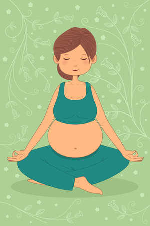 A vector illustration of beautiful pregnant woman doing yoga exercise Ilustracja