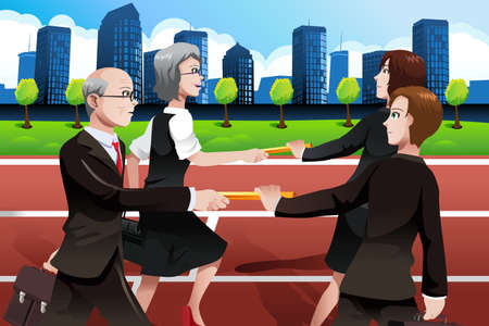 A vector illustration of older business people passing batons to the younger generation