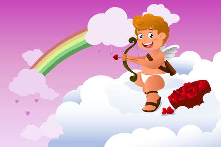 A vector illustration of cupid Valentine background Stock Vector - 23193415