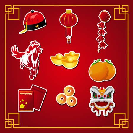 faroles: Una ilustración vectorial de icono nuevo año chino establece