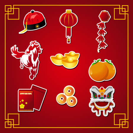 A vector illustration of Chinese new year  icon sets