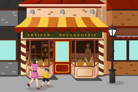 A vector illustration of French bakery store Stock Vector - 23193423