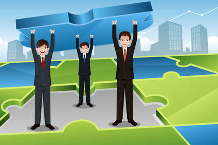 A vector illustration of businessmen carrying big puzzle together for business teamwork concept Vector
