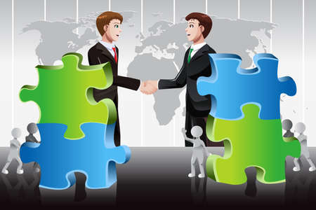 merger: A vector illustration of business merger concept Illustration