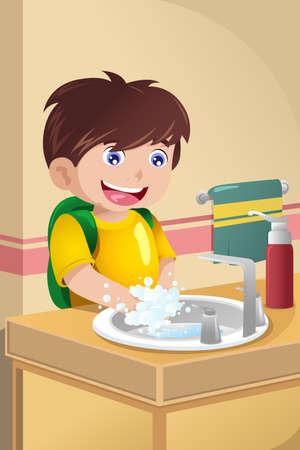 lavandose las manos: Una ilustración vectorial de lindo niño se lava las manos