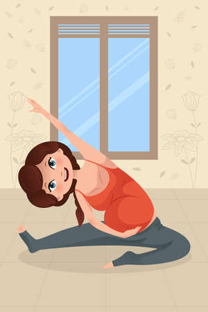 A vector illustration of beautiful pregnant woman doing yoga exercise 일러스트