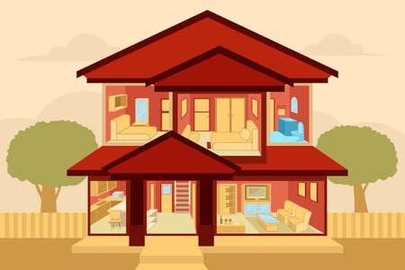 Una ilustración vectorial de los modernos interiores casa vista desde fuera Ilustración de vector