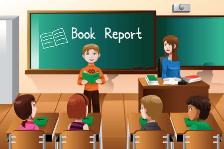 classmate: A vector illustration of student doing a book report in front of the class