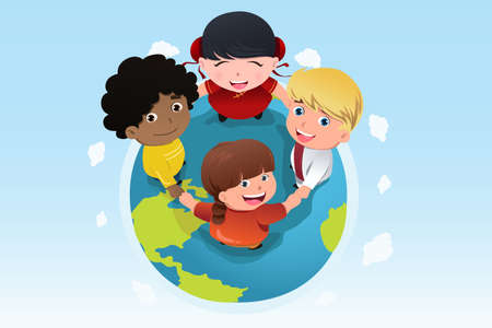 hands holding earth: A vector illustration of multi ethnic children holding hands for diversity concept Illustration