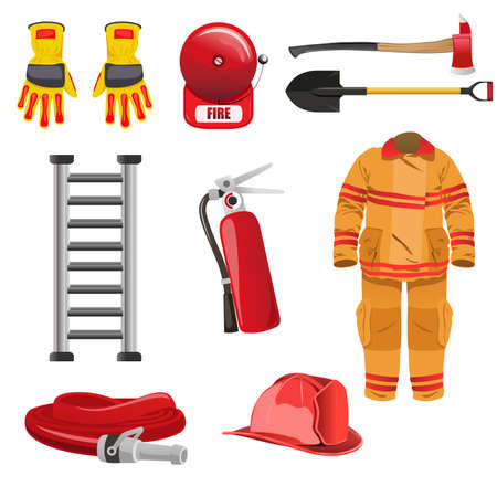 A vector illustration of firefighters icons Çizim