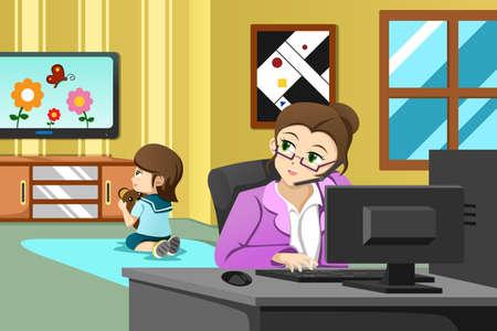 彼女の娘がテレビを見ている間オフィスで働く母親のベクトル イラスト
