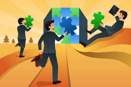 A vector illustration of businessmen making a puzzle for business teamwork concept Vector