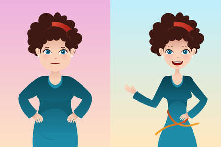 diet weight loss: A vector  illustration of weight loss concept of a pretty girl before and after diet