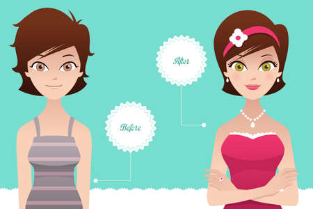A vector  illustration of a beautiful woman before and after makeup Vector
