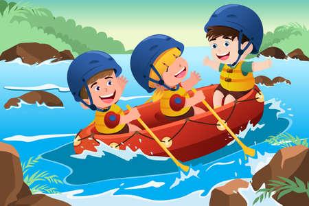 A vector illustration of three happy kids on boat Ilustração