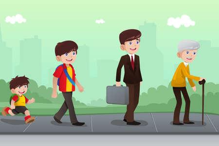 vida: Una ilustración vectorial de una etapa diferente de la vida de un hombre de joven a viejo para el concepto de la evolución