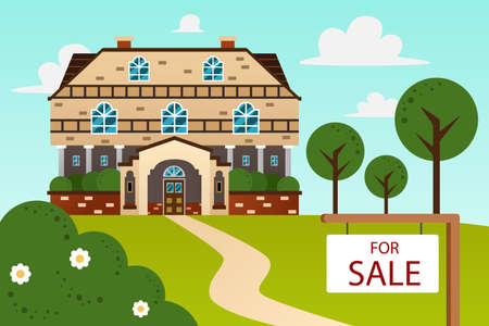modern house: A vector illustration of big beautiful modern house with for sale sign
