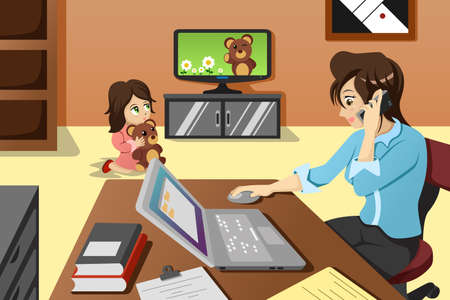 A vector illustration of mother working in the office while her daughter watching television Ilustração