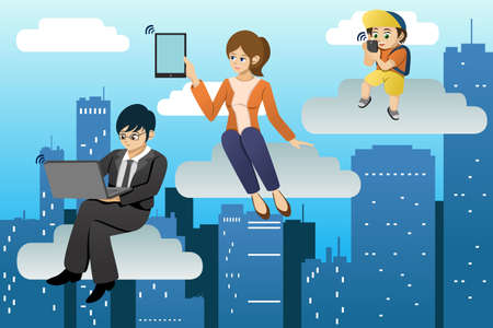 A vector illustration of people using different mobile device in clouds computing environment Stock Vector - 23645753