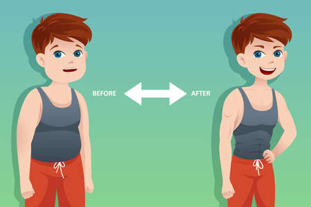 A vector  illustration of weight loss concept of a man before and after diet  Vector
