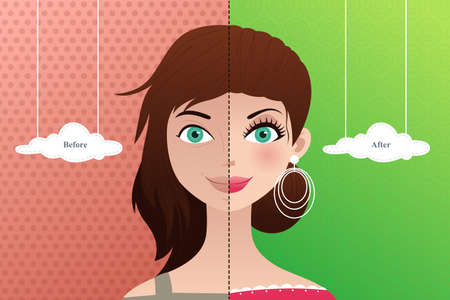 A vector  illustration of a beautiful woman before and after makeup Stock Vector - 23652962