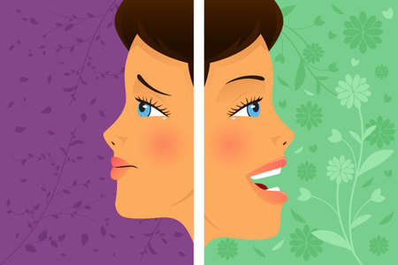 A vector  illustration of a beautiful woman before and after attitude change Stock Vector - 23652994