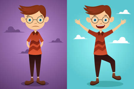 A vector  illustration of a beautiful man before and after attitude change Stock Vector - 23652990