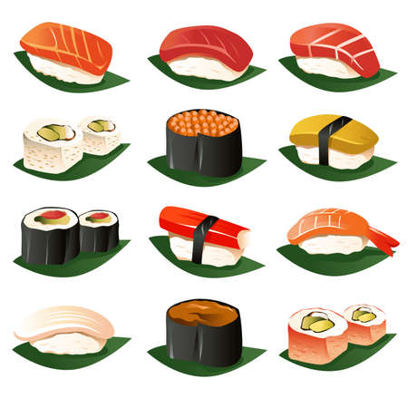 A vector illustration of sushi icon sets