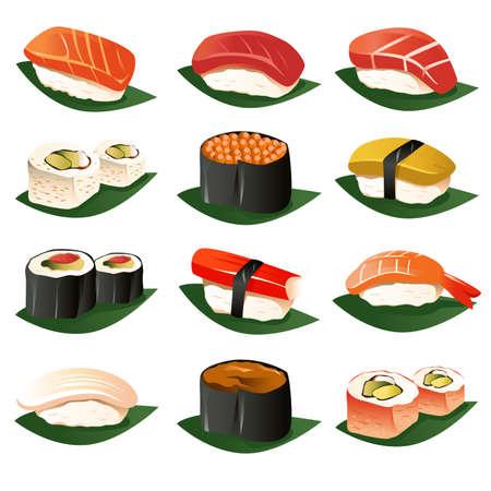 sushi: Een vector illustratie van sushi pictogrammensets