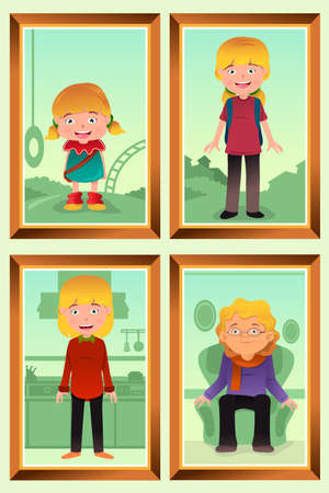 A vector illustration of a different stage of life of a woman from young to old for evolution concept Vector
