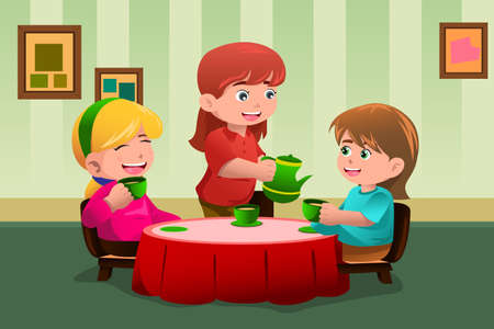 A vector illustration of cute girls having a tea party together Фото со стока - 23652991