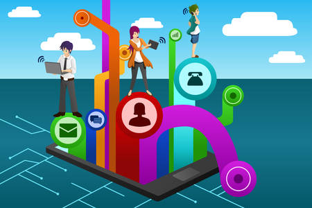A vector illustration of people using different mobile device Stock Vector - 23652996
