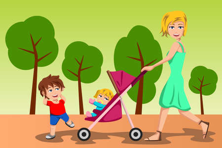 A vector illustration of beautiful mother walking with her kids Vector